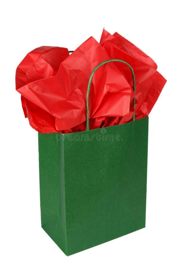 зеленый цвет подарка мешка стоковое фото rf