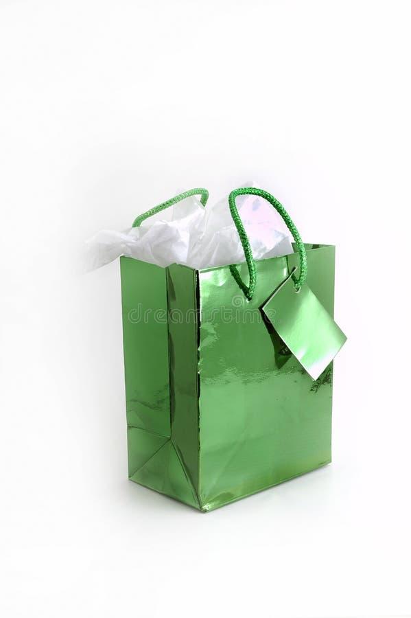 зеленый цвет подарка мешка стоковые изображения rf