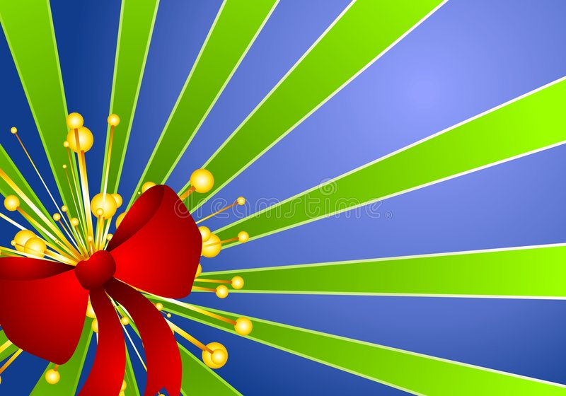 зеленый цвет подарка рождества смычка предпосылки голубой бесплатная иллюстрация