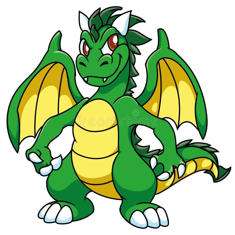 Зеленый цвет подогнал лукавого дракона с желтым животом и подгоняет, с затмевает рожки, шарж, фантазию иллюстрация штока