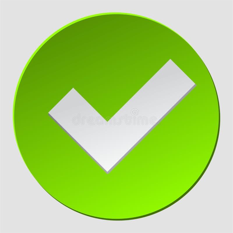Зеленый цвет проверяет внутри круг Знак контрольной пометки одобрил Ок, да значок, simbol, логотип Символ Okey для approvement r иллюстрация штока