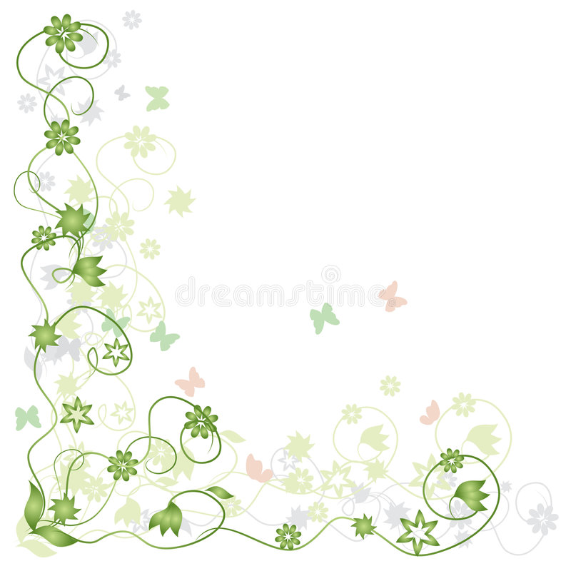 зеленый цвет рамки бабочки флористический иллюстрация штока