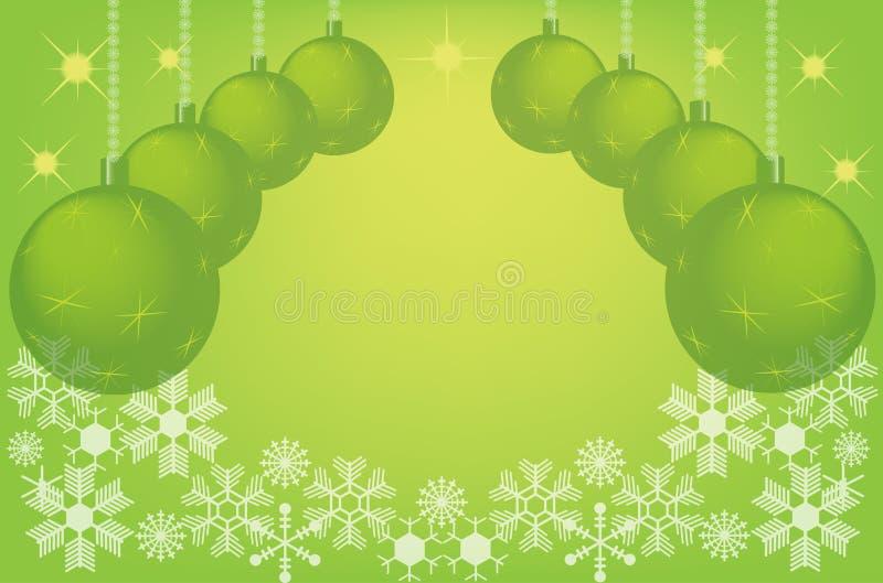 зеленый цвет рождества шариков предпосылки иллюстрация штока