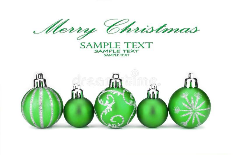 зеленый цвет рождества baubles стоковая фотография