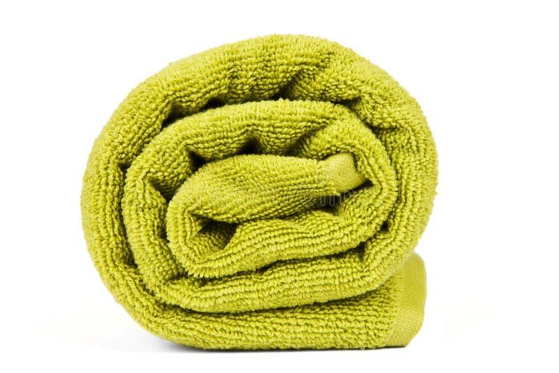зеленый цвет свернул полотенце вверх стоковое изображение rf