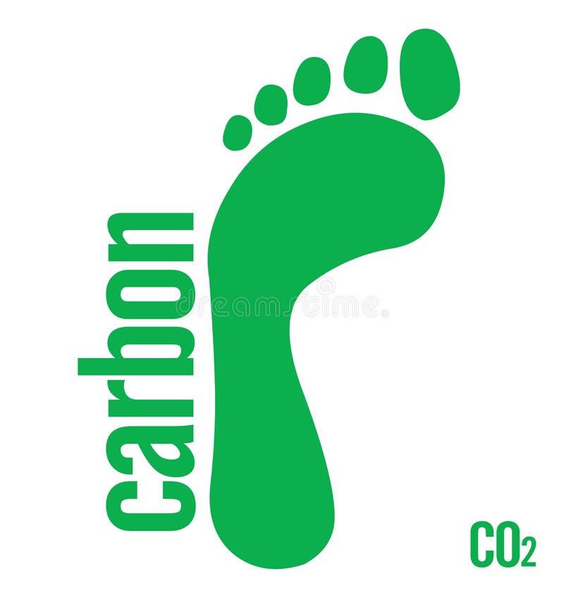 зеленый цвет следа ноги углерода иллюстрация штока