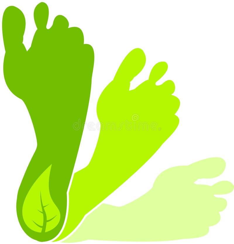 зеленый цвет следа ноги иллюстрация штока