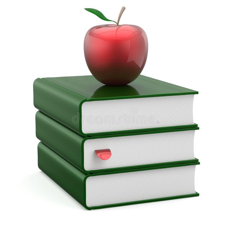 Зеленый цвет стога учебника книг покрывает яблоко закладки пробела красное иллюстрация штока