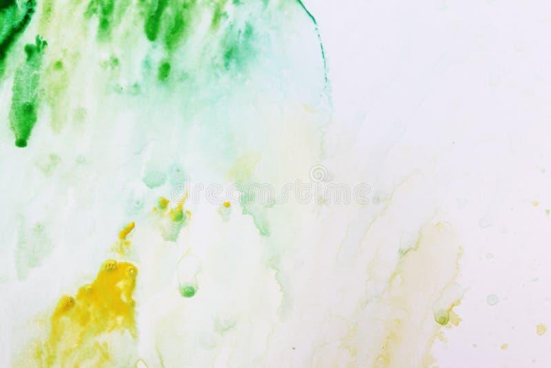 Зеленый цвет с желтой и белой реалистической текстурой акварели на предпосылке бумаги иллюстрация вектора
