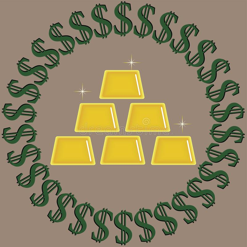 Зеленый цвет с черными знаками доллара окружая слитки золота блестящие изолированные на бежевой предпосылке иллюстрация штока