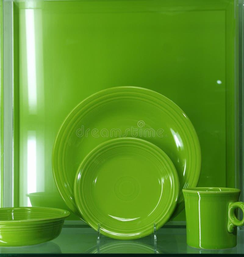 зеленый цвет тарелок стоковое фото