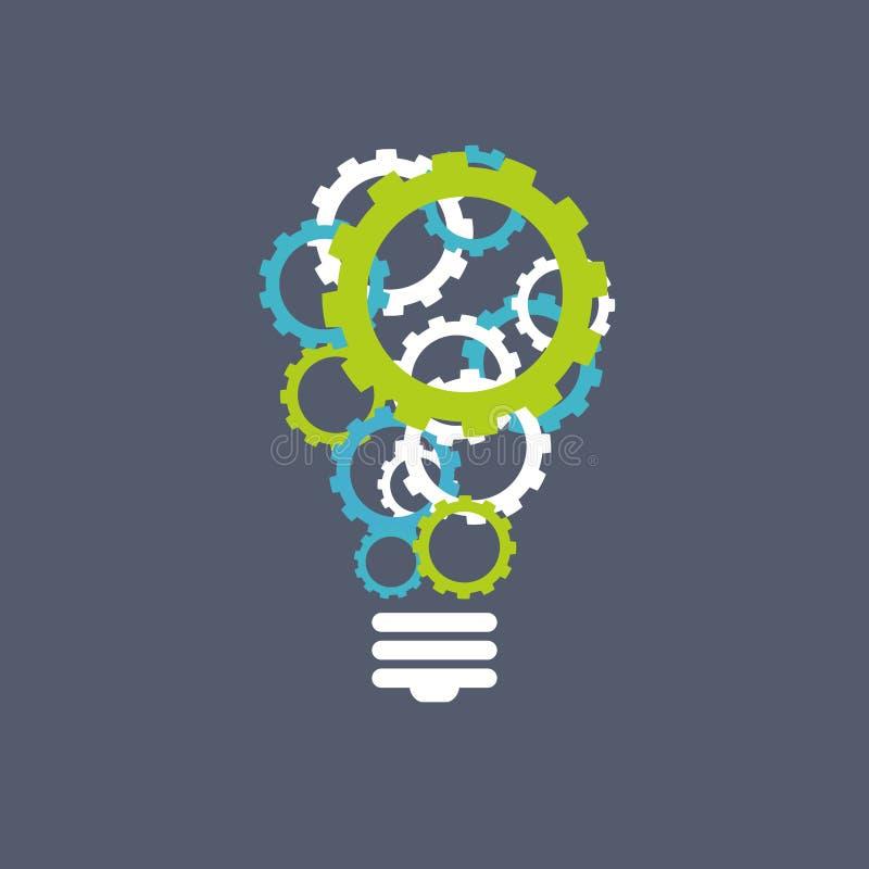 Зеленый цвет творческой концепции технологии голубой зацепляет электрическую лампочку иллюстрация штока
