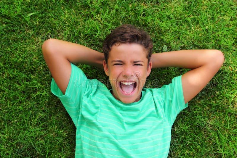зеленый цвет травы мальчика смеясь над кладущ подросток стоковое изображение rf