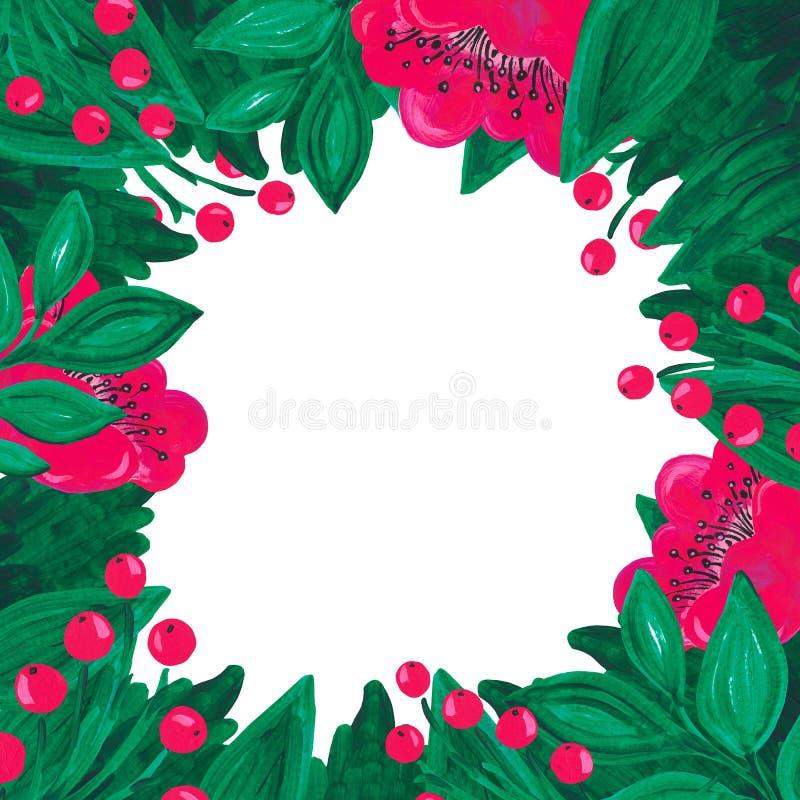 Зеленый цвет цветка рамки яркий красный розовый выходит ветвь ягоды на белую изолированную покрашенную руку предпосылки с акрилов иллюстрация вектора