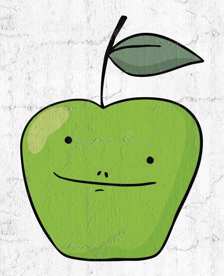 зеленый цвет яблока смешной иллюстрация вектора