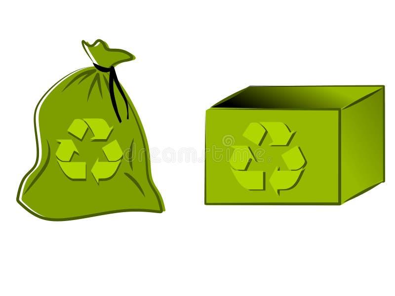 зеленый цвет ящика мешка рециркулирует иллюстрация штока