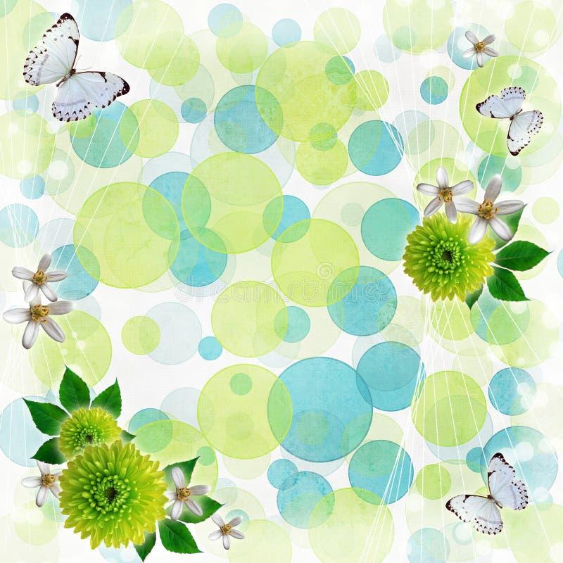 зеленый цвет bokeh предпосылки голубой иллюстрация вектора