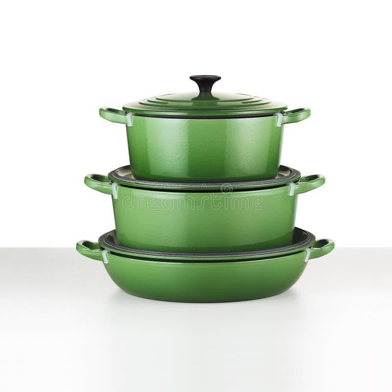 зеленый цвет cookware стоковые фото