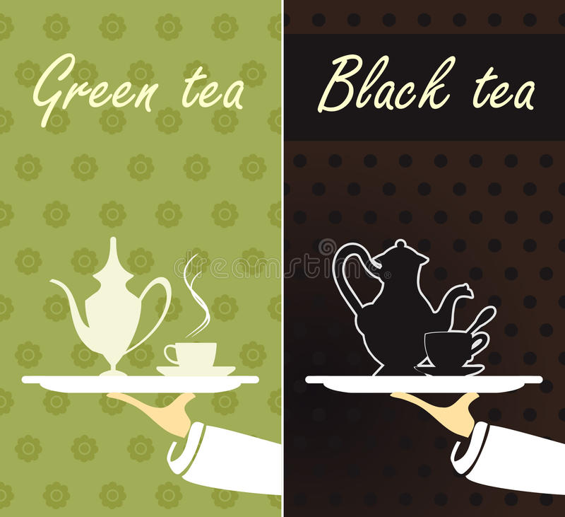 Зеленый чай и черный чай иллюстрация вектора