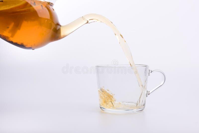 Зеленый чай лить в стеклянную чашку изолированную на белизне стоковая фотография