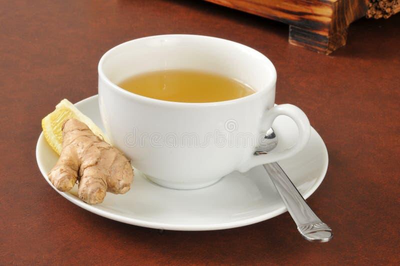 Зеленый чай с лимоном и giner стоковое изображение rf