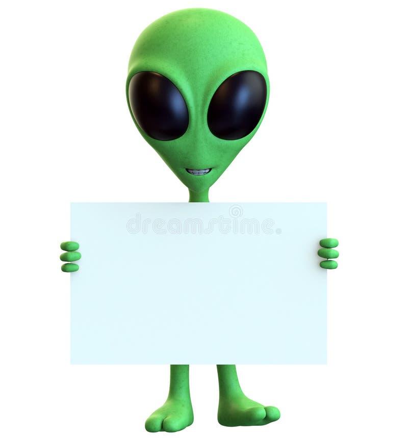 Зеленый чужеземец шаржа держа пустой знак иллюстрация вектора