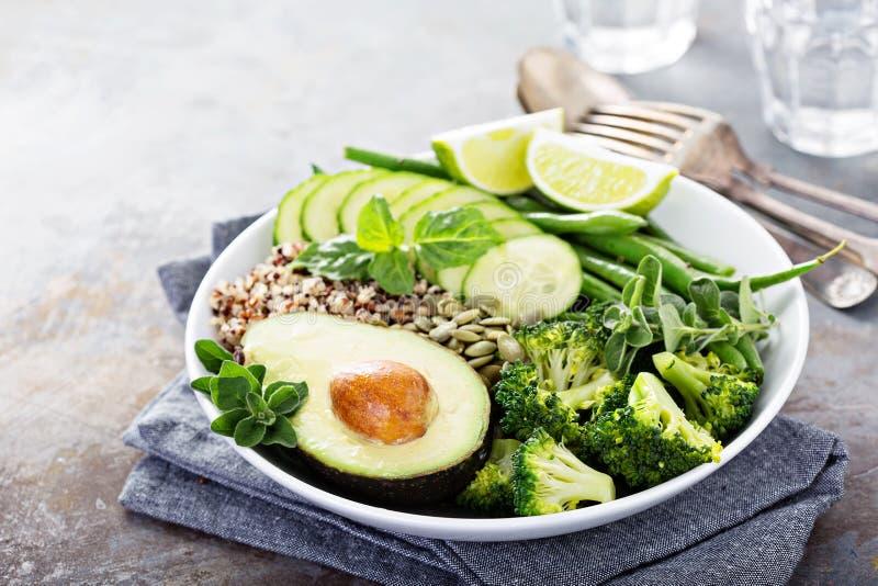 Зеленый шар обеда vegan с квиноа и авокадоом стоковые изображения rf