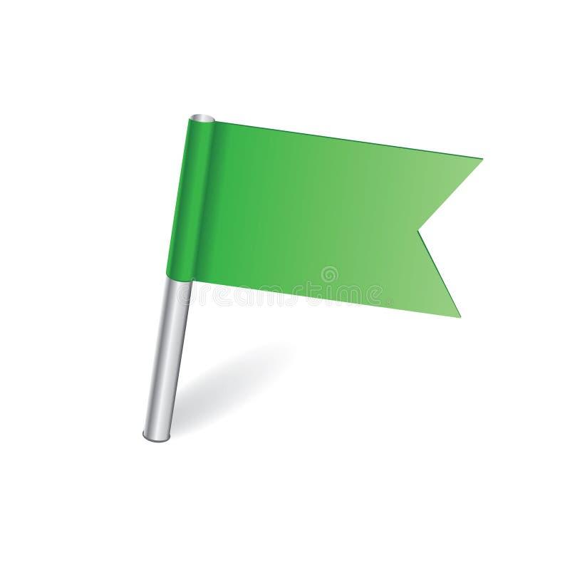 Зеленый штырь карты флага иллюстрация вектора