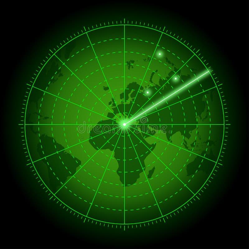 Зеленый экран радара с картой мира Предпосылка системы воздушного поиска с отметкой цели вектор иллюстрация вектора