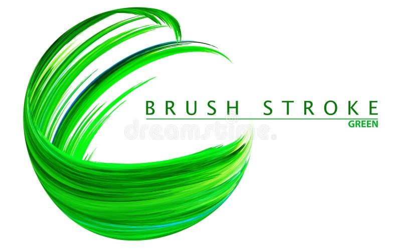Зеленый brushstroke на белизне E иллюстрация вектора