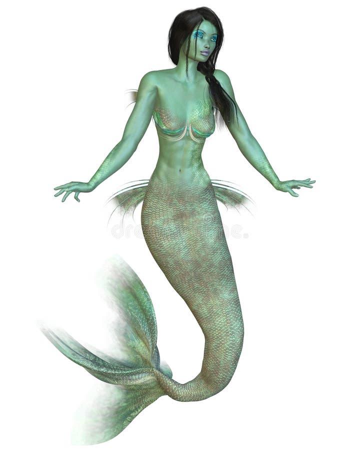 зеленый mermaid иллюстрация штока