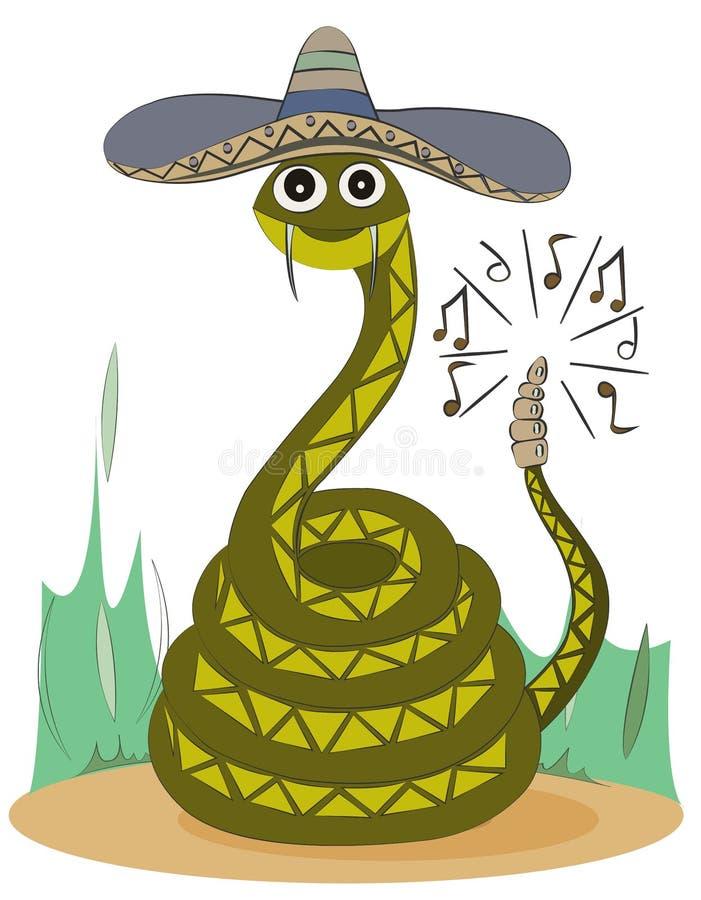 Зеленый rattlesnake в sombrero сидит на песке Милый персонаж из мультфильма бесплатная иллюстрация