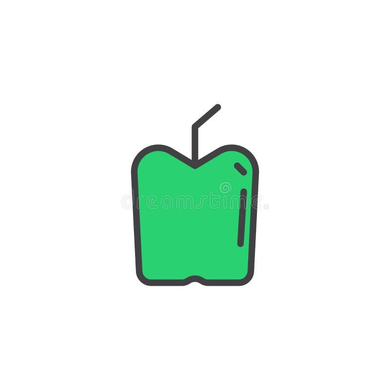 Зеленым значок плана Яблока заполненный плодоовощ иллюстрация вектора