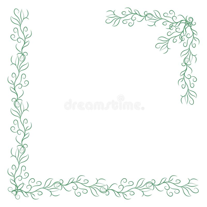 2 зеленых винтажных угла на белой предпосылке Граница элегантной руки вычерченная флористическая бесплатная иллюстрация
