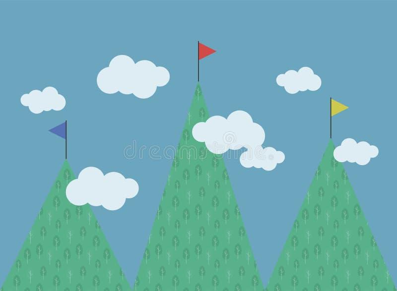 3 зеленых горы с лиственными деревьями pattenre флагов различных высот пестротканых на белизне верхних частей заволакивают compe  иллюстрация штока