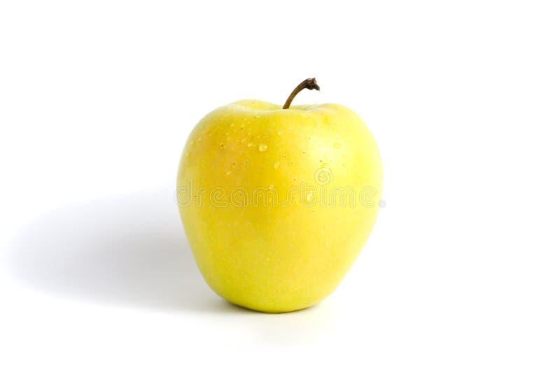 Зелен-желтое яблоко изолированное на белой предпосылке Разнообразие Яблока золотое стоковое изображение rf