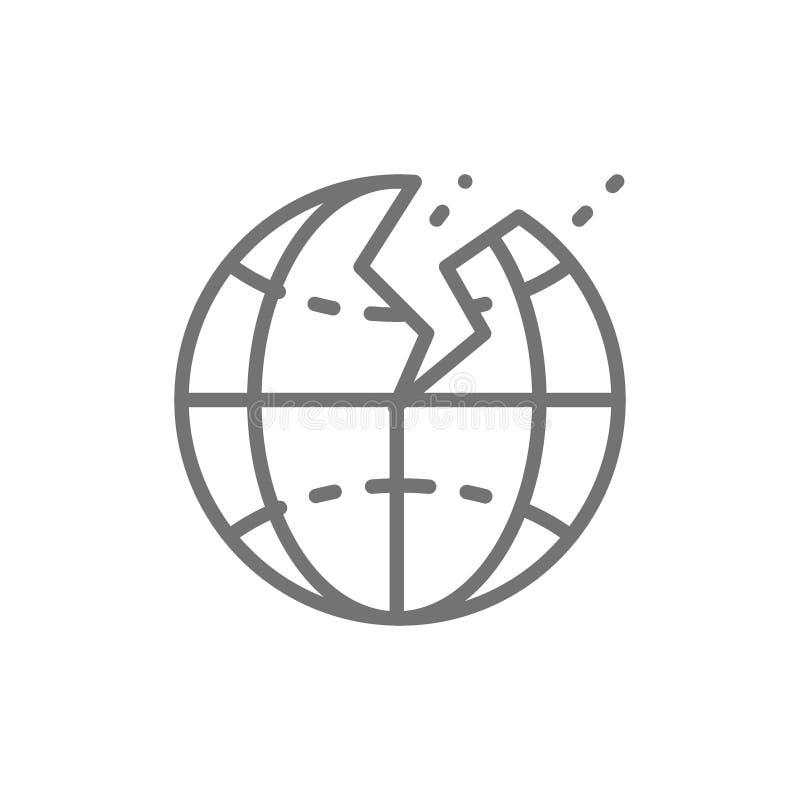 Землетрясение, стихийное бедствие, линия значок сейсма иллюстрация вектора