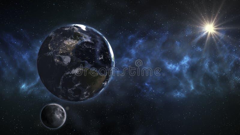 Земля в космическом пространстве с красивым восходом солнца Элементы thi стоковые изображения