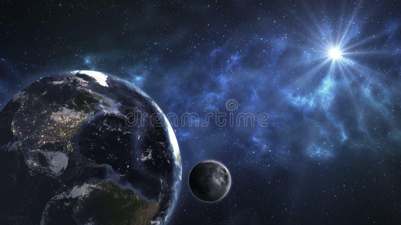 Земля в космическом пространстве с красивым восходом солнца Элементы thi стоковое фото rf