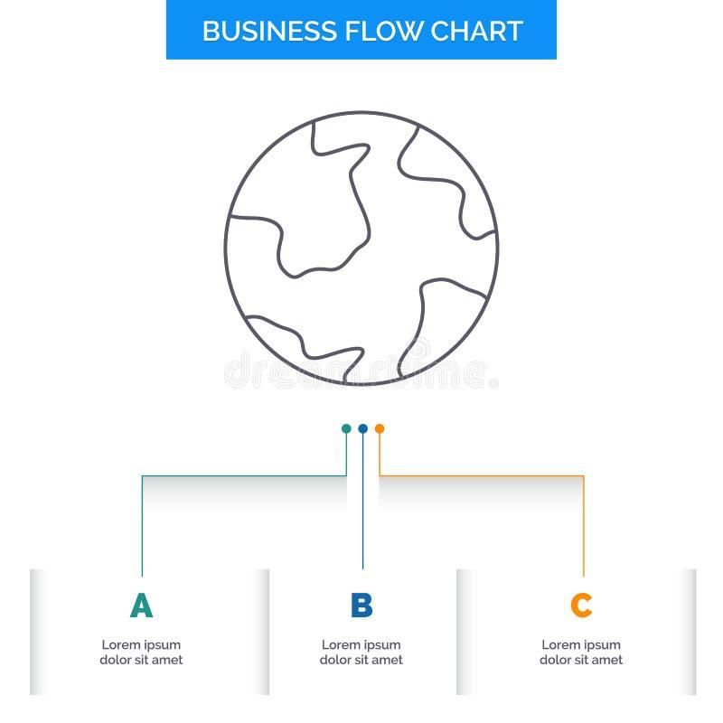 земля, глобус, мир, землеведение, дизайн графика течения дела открытия с 3 шагами r иллюстрация штока