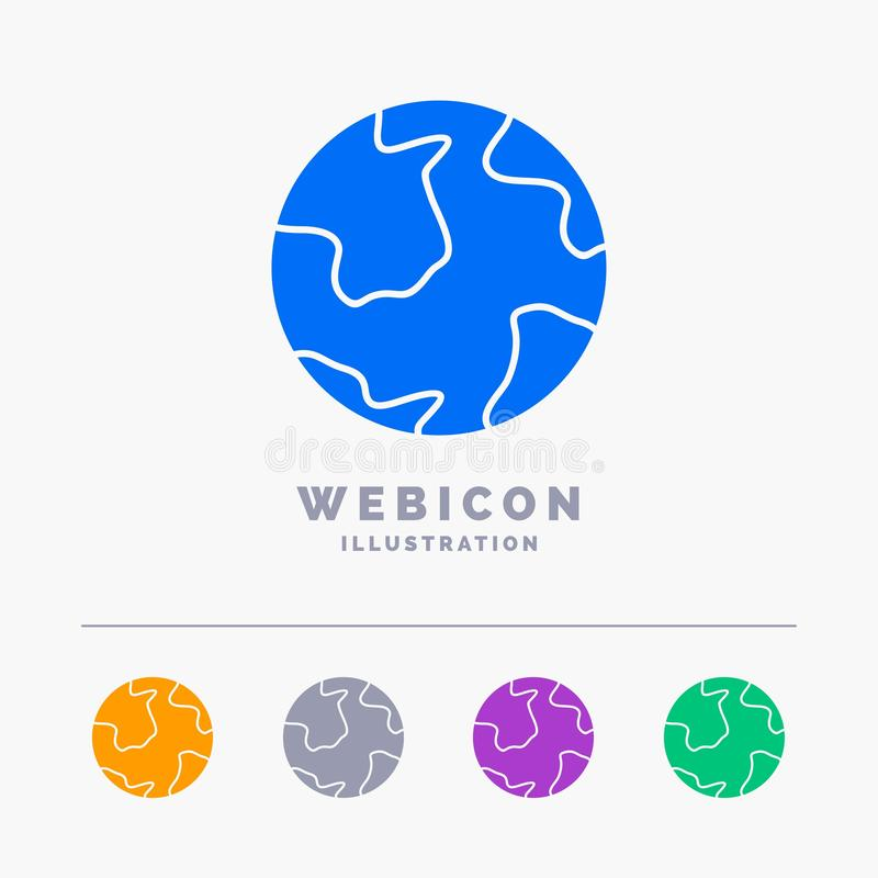 земля, глобус, мир, землеведение, шаблон значка сети глифа цвета открытия 5 изолированный на белизне r иллюстрация вектора
