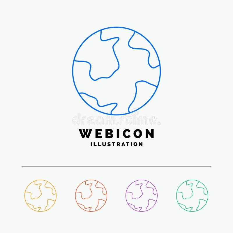 земля, глобус, мир, землеведение, шаблон значка сети цветного барьера открытия 5 изолированный на белизне r иллюстрация штока