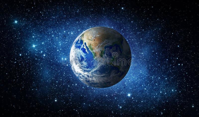 Земля, звезда и галактика вселенный звезды космоса nebula предпосылки цветастая стоковое изображение rf