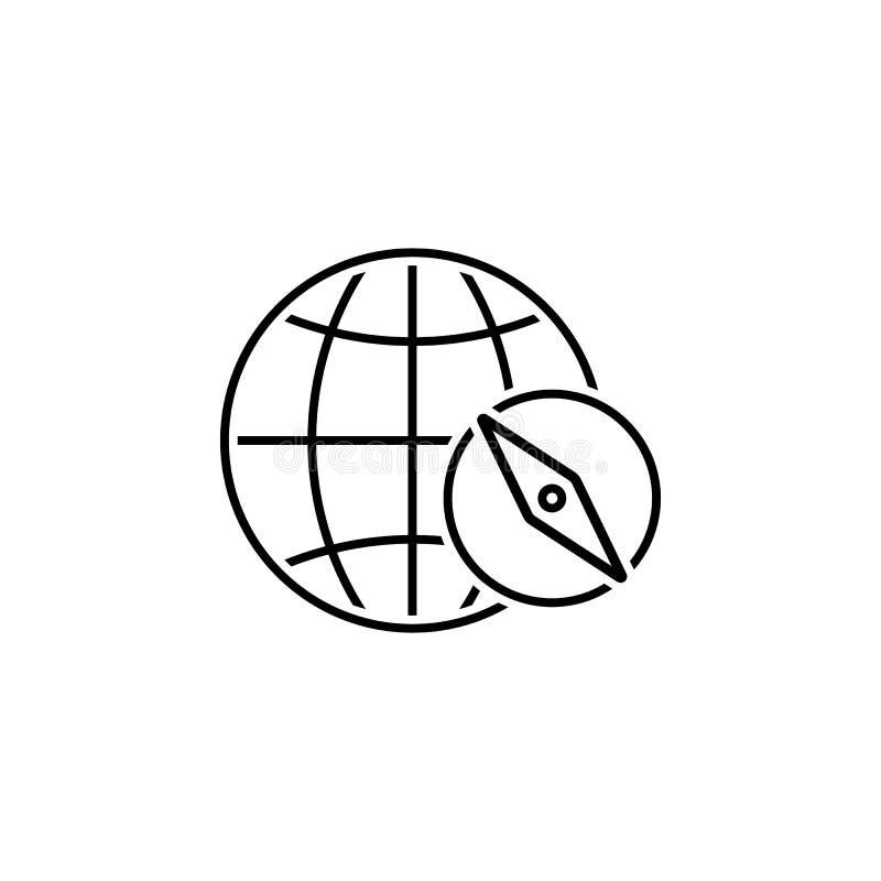 Земля, значок компаса Элемент значка навигации сети для мобильных приложений концепции и сети Детализированную землю, значок комп иллюстрация вектора
