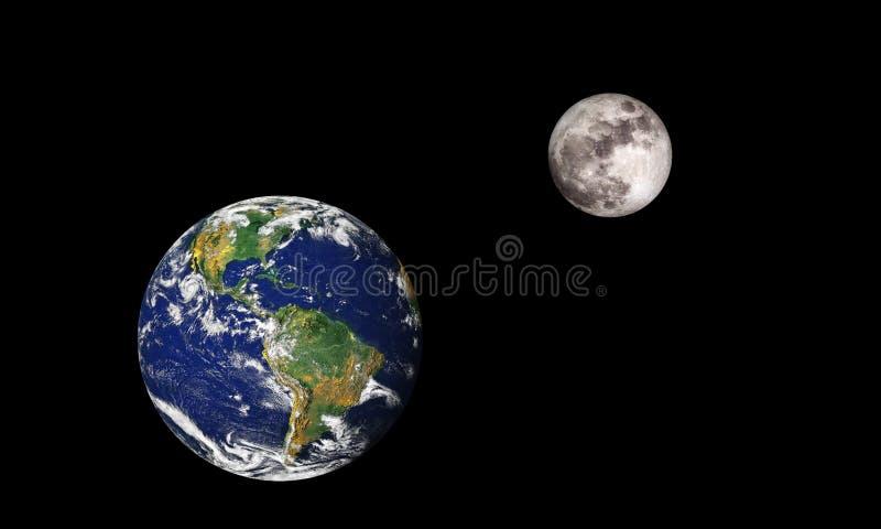 Земля и луна иллюстрация вектора