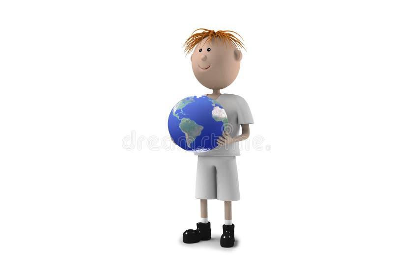 земля мальчика держит детенышей стоковая фотография rf