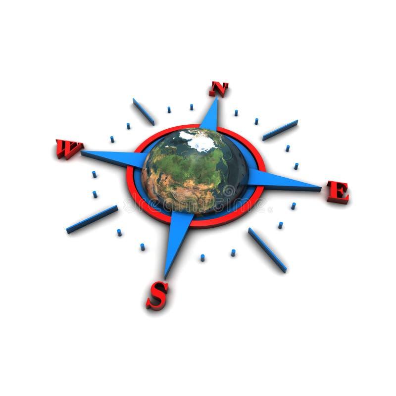 земля направления компаса 3d гловальная иллюстрация вектора