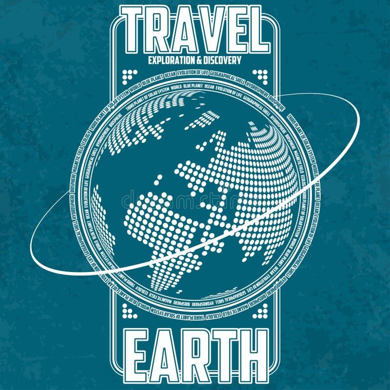 Земля перемещения, исследования и открытия Стилизованные континенты на предпосылке глобуса бесплатная иллюстрация