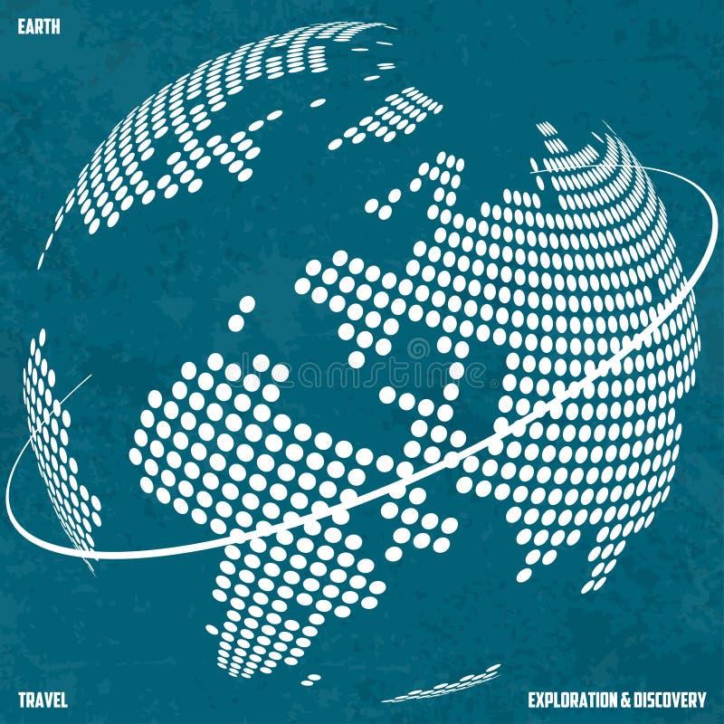 Земля перемещения, исследования и открытия Стилизованные континенты на предпосылке глобуса иллюстрация вектора