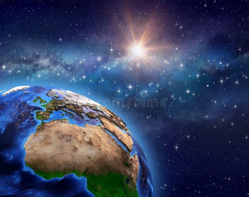 Земля планеты в поле звезды иллюстрация штока